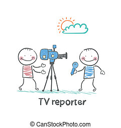 tvカメラ, 話す, レポーター