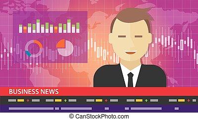 tv, âncora, notícia, relatório negócio, diagrama, mapa