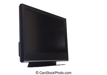 tv, écran plat visualisation, blanc, isolé
