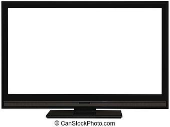 tv, écran plat visualisation, coupure, large