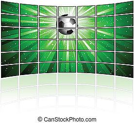 tv, écrans, image, football