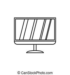 tv, ícone, estilo, conduzido, esboço