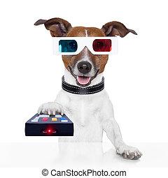 tv, óculos, controle, remoto, filme, cão, 3d
