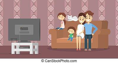 tv życie, pokój, rodzina, oglądając