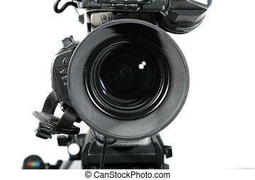 tv, の上, レンズ, カメラ, スタジオ, 終わり