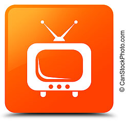 tv, アイコン, オレンジ正方形, ボタン