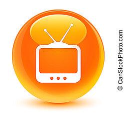 tv, アイコン, ガラス状, オレンジ, ラウンド, ボタン