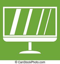 tv, アイコン, 緑