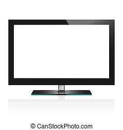 tv, イラスト, ベクトル, lcd, スクリーン, 平ら