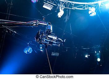 tv, クレーン, カメラ