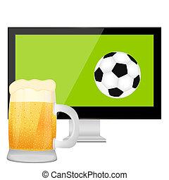 tv スクリーン, そして, ビールのマグ