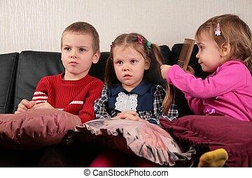 tv, ソファー, 子供, 3, 監視