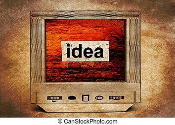 tv, テキスト, 考え, 型