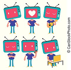 tv, ヘッドホン, 女の子