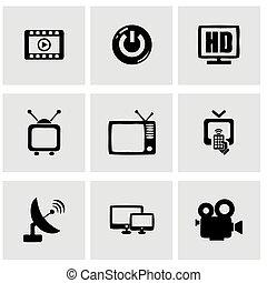 tv, ベクトル, セット, アイコン