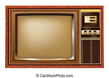 tv, ベクトル, レトロ, イラスト