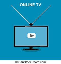 tv, モニター, ベクトル, illustra, オンラインで