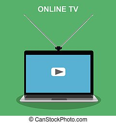 tv, ラップトップ, アンテナ, オンラインで