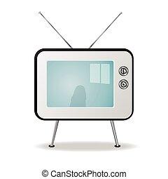 tv, レトロ, イラスト