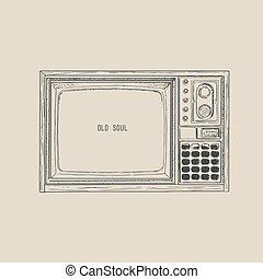 tv, レトロ, vector.