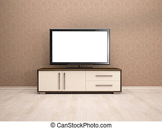 tv, 内部, 3d, イラスト, テーブル