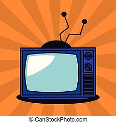 tv, 古い, 芸術, ポンとはじけなさい