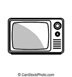 tv, 古い, 隔離された, アイコン