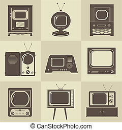 tv, 型, セット, レトロ