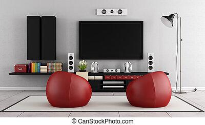tv, 壁, 現代, ユニット