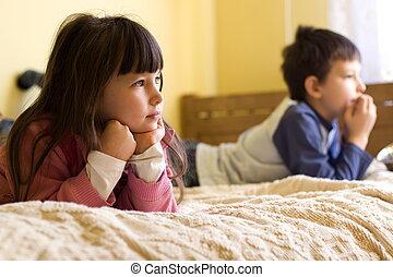 tv, 子供, 監視