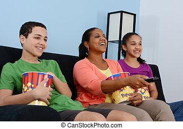 tv, 家族, 監視