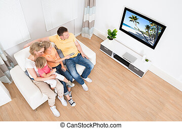 tv, 家族, 若い, 一緒に, 監視