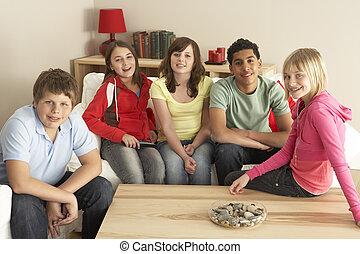 tv, 家, グループ, 子供, 監視
