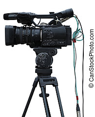 tv, 専門家, 隔離された, カメラ, ビデオ, デジタル, スタジオ, 白