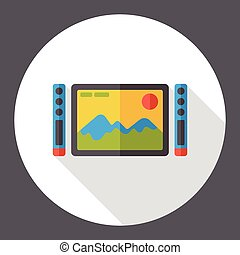 tv, 平らなスクリーン, アイコン