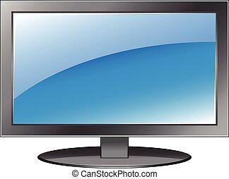 tv, 平らなスクリーン, ベクトル, モニター