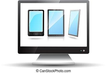 tv, 平らなスクリーン, 移動式 電話