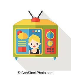 tv, 平ら, モニター, アイコン