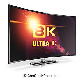 tv, 曲がった, ultra, 8k, hd