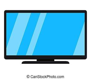 tv, 現代, 隔離された, 黒, 白, 漫画