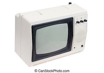 tv, 白, セット, レトロ, ポータブル
