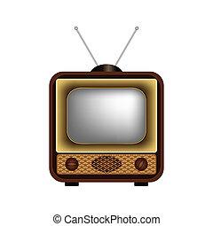 tv, 白, レトロ, 背景