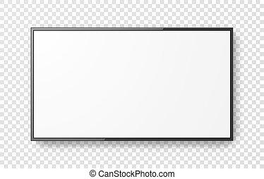 tv, 網, 現実的, 透明, テレビ, display., イラスト, monitor., mockup, コンピュータ, リードした, ベクトル, スクリーン, バックグラウンド。, モニター, 3d