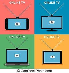 tv, 装置, セット, ベクトル, オンラインで