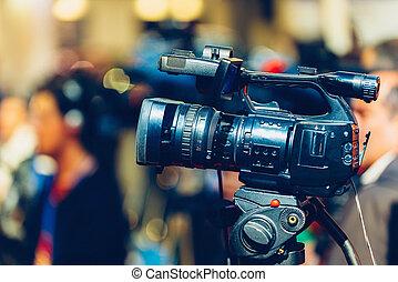 tv, 録音, カメラ, でき事