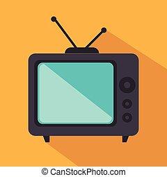 tv, 隔離された, レトロ, アイコン