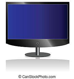 tv, 青, lcd, スクリーン