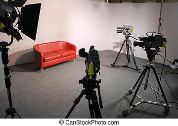 tv, 3, カメラ, スタジオ