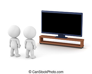 tv, 3d, caractères, regarder
