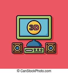 tv, 3d, icône